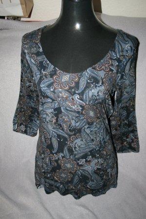 Langarmshirt von Janina Gr. 40 blau / gemustert - wie neu