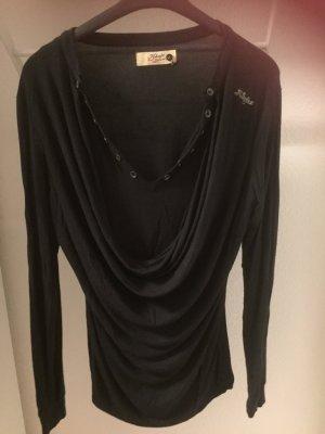 Khujo Koszulka z dekoltem woda czarny