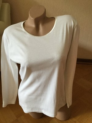 Cassani Koszulka z dekoltem w łódkę biały Bawełna