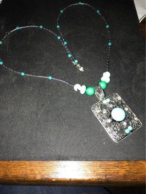 Handarbeit Collar de perlas color plata-turquesa
