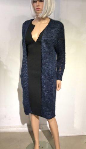 Manteau en tricot bleu foncé-bleu