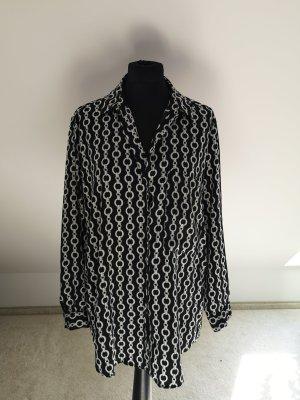 Zara Blusa larga negro-blanco Poliéster