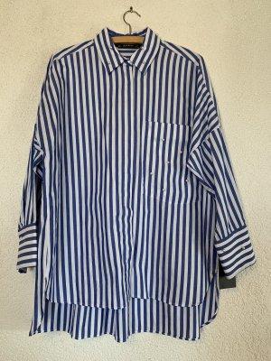 Lange Bluse weiß blau gestreift mit Perlen