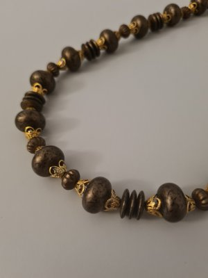 Vintage Pearl Necklace brown-gold-colored