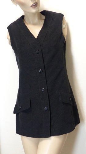 Gilet long tricoté noir tissu mixte