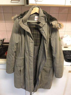 Lange dicke Jacke/Mantel in Khakigrau