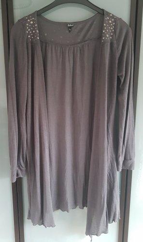 Sublevel Gilet long tricoté argenté-gris foncé