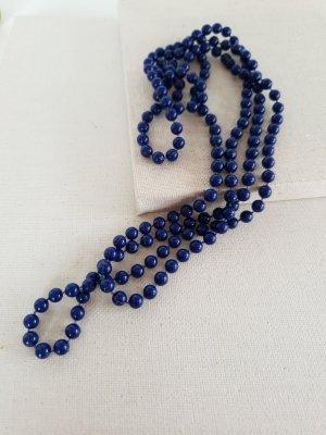 Retro Kette Collier de perles bleu acier-bleu foncé