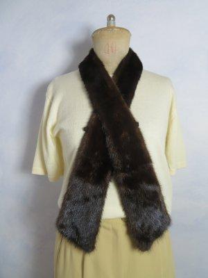 Vintage 55 Cravate ascot brun foncé fourrure