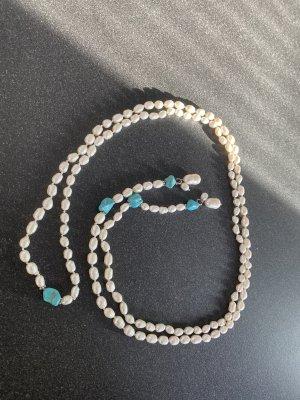 Lange & Edle klassische Halskette: Echtschmuck weiße Naturperlen weiß Lariat