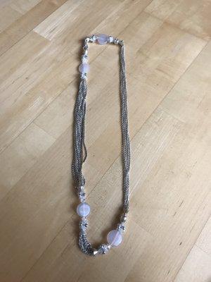 Hallhuber Collana di perle bianco-argento