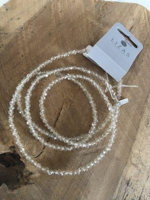 Lange Glitzer Perlen Halskette Kette silber klar