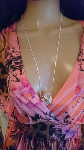 Lange Halskette 70 cm Silber 925 mit  Silber filigran Kugel