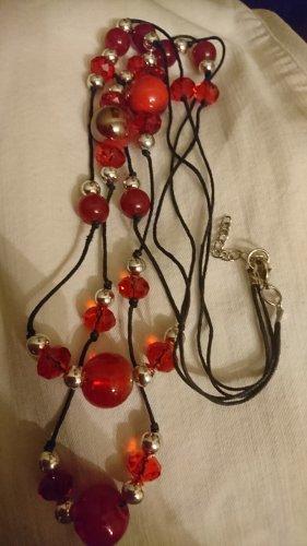 Lange Halskette ca.80 cm mit Glasperlen in knallrot