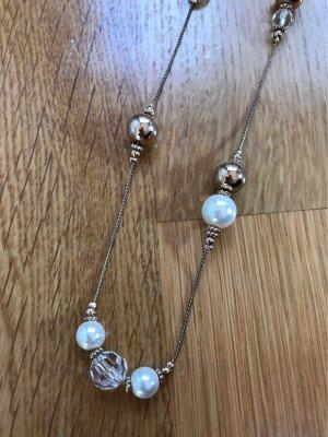 Naszyjnik z perłami złoto-biały