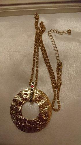 Lange Halskette ,runde Anhänger mit Strasssteine Goldfarbe