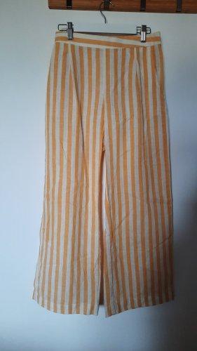 Lniane spodnie w kolorze białej wełny-jasnożółty