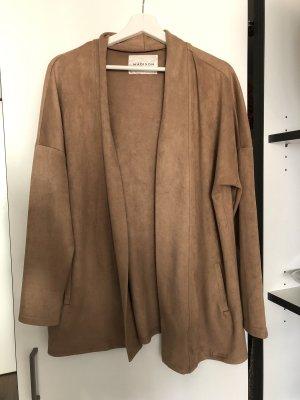 Lange Jacke Mantel Stoff camel beige