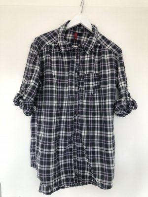 H&M Checked Blouse white-dark violet