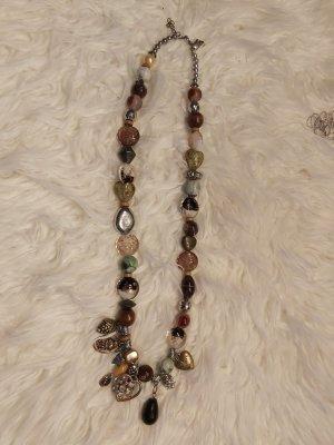 Lange Kette mit div. verschiedenen Steinen, Budda's und Elemente in Naturtönen