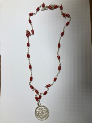 Link Chain silver-colored-red