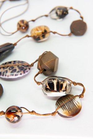 Bijou Brigitte Collier incrusté de pierres multicolore