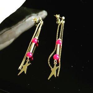Lange Ketten Ohrstecker mit roten Perlen, 7cm