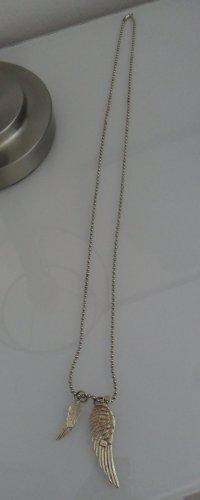 Lange Kugelkette 925 er Silber, vergoldet mit 2 Anhängern, Flügel/Engelsflügel