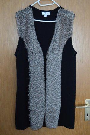 b.p.c. Bonprix Collection Gilet tricoté noir-marron clair coton