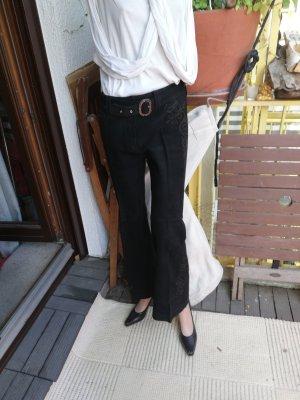lange Lederhose mit Stickerei Gr. 38