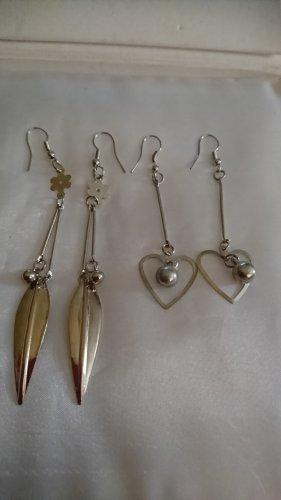 Lange leichte Ohrringe  2 Paar , Ohrhänger Silberfarbe