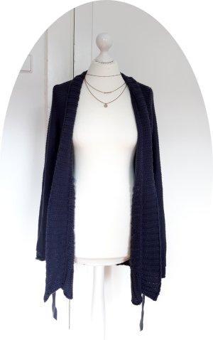 Lange Marineblaue Strickjacke von OPUS mit Gürtel
