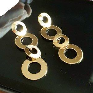 Lange Ohrhänger vergoldet glänzend,  7,5cm