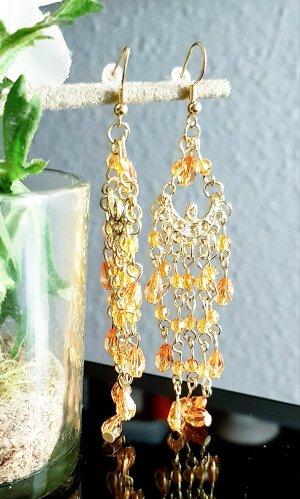 Zdobione kolczyki złoto-jasny pomarańczowy
