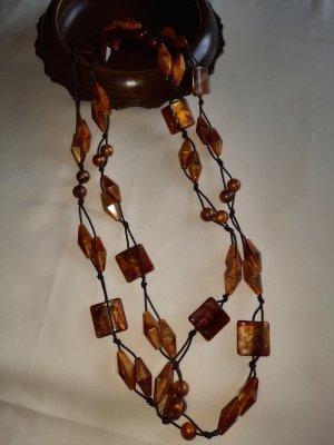 Handmade Collar de perlas color bronce-marrón