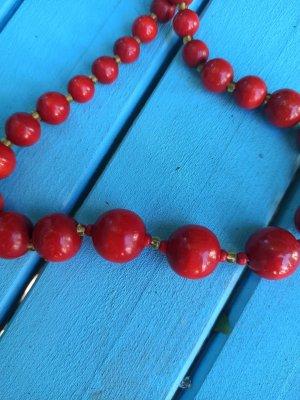 Naszyjnik z perłami złotopomarańczowy-czerwony