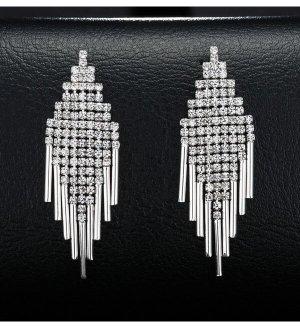lange Quaste Ohrringe mit voller Diamant silber