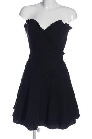 Lange schulterfreies Kleid schwarz Elegant