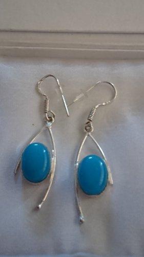 Lange Silber Ohrringe mit blauen Naturstein Stein