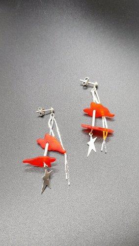 Bungeloorbellen zilver-rood