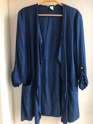 H&M Długa kurtka stalowy niebieski Tkanina z mieszanych włókien