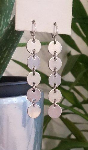 Lange Statement Silber-Pailletten Ohrringe