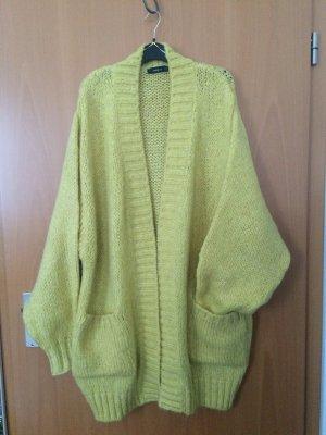 Zara Knit Cárdigan de punto grueso amarillo oscuro Acrílico
