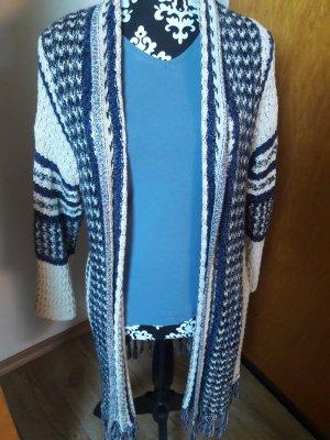 Esprit Kurtka z grubej dzianiny w kolorze białej wełny-niebieski