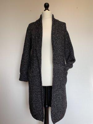 Massimo Dutti Coarse Knitted Jacket white-black cotton