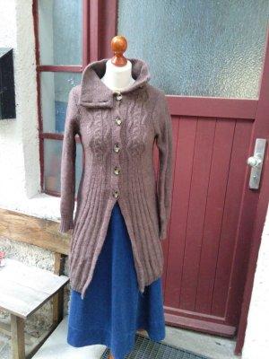 Cappotto a maglia marrone chiaro-marrone-grigio Lana