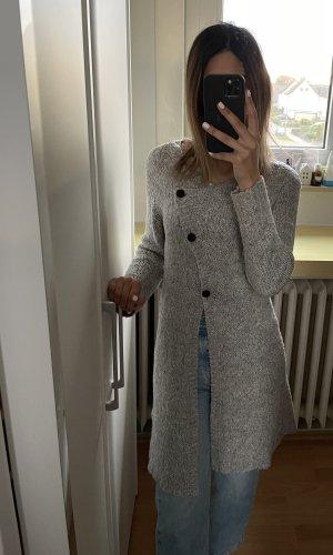 Lange Strickjacke Übergangsjacke mit coolen Details in grau