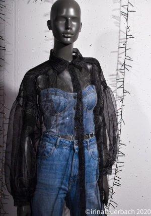 Lange transparente Bluse aus Organza