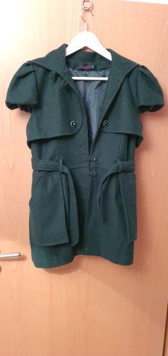 Manteau en laine vert foncé-vert forêt