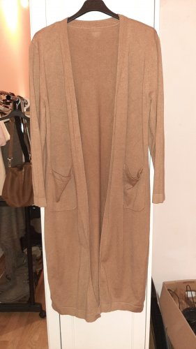 Long Knitted Vest brown-cognac-coloured